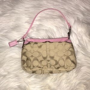 Coach Pink and Tan Canvas & Leather Baguette